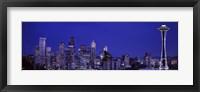 Framed Seattle Skyline at Night