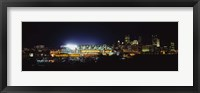 Framed Stadium lit up at night in a city, Heinz Field, Three Rivers Stadium, Pittsburgh, Pennsylvania, USA