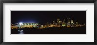 Framed Stadium lit up at night in a city, Heinz Field, Three Rivers Stadium,Pittsburgh, Pennsylvania, USA