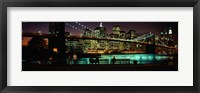 Framed Suspension bridge lit up at dusk, Brooklyn Bridge, East River, Manhattan, New York City, New York State, USA