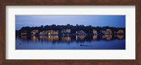 Framed Boathouse Row lit up at dusk, Philadelphia, Pennsylvania