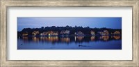 Framed Boathouse Row lit up at dusk, Philadelphia, Pennsylvania