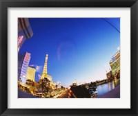 Framed Buildings lit up at dusk, Las Vegas, Nevada