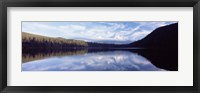 Framed Reflection of clouds in a lake, Mt Hood viewed from Lost Lake, Mt. Hood National Forest, Hood River County, Oregon, USA