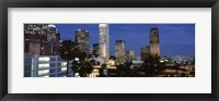 Framed Skyscrapers at night in the City Of Los Angeles, Los Angeles County, California, USA