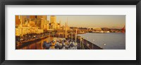 Framed Buildings at the waterfront, Elliott Bay, Bell Harbor Marina, Seattle, King County, Washington State, USA