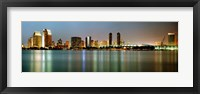 Framed City skyline at night, San Diego, California, USA