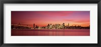 Framed Bay Bridge and San Francisco Skyline at Dusk (pink sky)