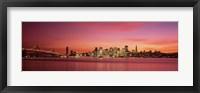 Framed Bay Bridge and San Francisco Skyline at Dusk (pink sky)