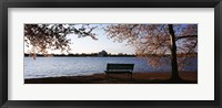 Framed Park bench with a memorial in the background, Jefferson Memorial, Tidal Basin, Potomac River, Washington DC, USA
