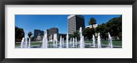 Framed Plaza De Cesar Chavez with Water Fountains, San Jose, California