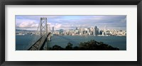 Framed San Francisco skyline with Bay Bridge, California, USA