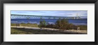 Framed Suspension bridge across a strait, Mackinac Bridge, Mackinaw City, Michigan, USA