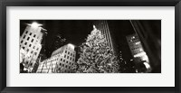 Framed Christmas tree lit up at night, Rockefeller Center, Manhattan (black and white)