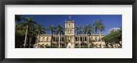 Framed Facade of a government building, Aliiolani Hale, Honolulu, Oahu, Honolulu County, Hawaii, USA