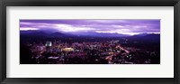 Framed Aerial view of a city lit up at dusk, Asheville, Buncombe County, North Carolina, USA 2011