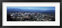 Framed Aerial view of a city, Asheville, Buncombe County, North Carolina, USA