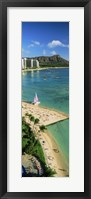 Framed Aerial view of a beach, Diamond Head, Waikiki Beach, Oahu, Honolulu, Hawaii, USA