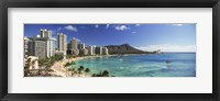 Framed Buildings along the coastline, Diamond Head, Waikiki Beach, Oahu, Honolulu, Hawaii, USA