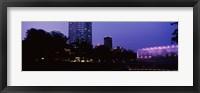 Framed Devon Tower and Crystal Bridge Tropical Conservatory at night, Oklahoma City, Oklahoma, USA