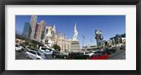Framed New York New York Hotel, MGM Casino, Excalibur Hotel and Casino, The Strip, Las Vegas, Clark County, Nevada, USA