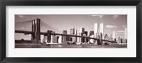 Framed Brooklyn Bridge, Hudson River, NYC, New York City, New York State, USA