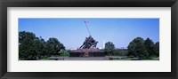 Framed War memorial with Washington Monument in the background, Iwo Jima Memorial, Arlington, Virginia, USA