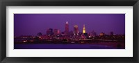 Framed Cleveland, Ohio Lit Up at Night