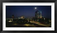 Framed Buildings lit up at night, Sacramento, California, USA