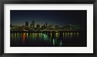 Framed Buildings lit up at night, Willamette River, Portland, Oregon, USA
