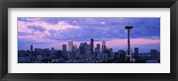 Framed Seattle Skyline with Purple Sky and Clouds