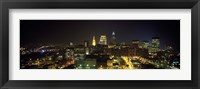 Framed Aerial view of a city lit up at night, Cleveland, Ohio, USA