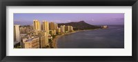 Framed High angle view of buildings at the waterfront, Waikiki Beach, Honolulu, Oahu, Hawaii, USA
