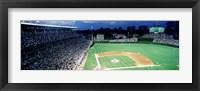 Framed Cubs baseball game under flood lights, USA, Illinois, Chicago