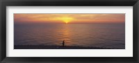 Framed Sunset over a lake, Lake Michigan, Chicago, Cook County, Illinois, USA