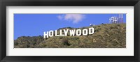 Framed Low angle view of a Hollywood sign on a hill, City Of Los Angeles, California, USA