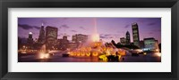 Framed Fountain lit up at dusk in a city, Chicago, Cook County, Illinois, USA