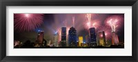 Framed Fireworks Over Buildings In Houston, Texas
