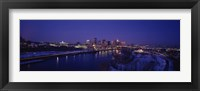 Framed Reflection of buildings in a river at night, Mississippi River, Minneapolis and St Paul, Minnesota, USA