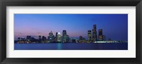 Framed Detroit Skyline at night, Michigan