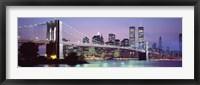 Framed Bridge at dusk, Brooklyn Bridge, East River, World Trade Center, Wall Street, Manhattan, New York City, New York State, USA
