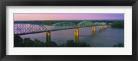Framed USA, Missouri, High angle view of railroad track bridge Route 54 over Mississippi River