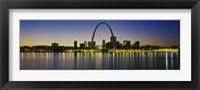 Framed City lit up at night, Gateway Arch, Mississippi River, St. Louis, Missouri