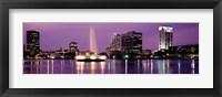 Framed View Of A City Skyline At Night, Orlando, Florida, USA