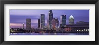 Framed USA, Florida, Tampa, View of an urban skyline at night