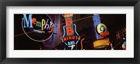 Framed Low angle view of neon signs lit up at night, Beale Street, Memphis, Tennessee, USA