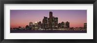 Framed Detroit at dusk, Michigan