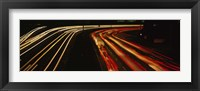 Framed High angle view of traffic on a road at night, Oakland, California, USA