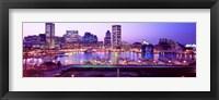 Framed Inner Harbor, Baltimore, Maryland at Night