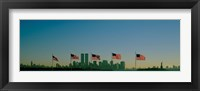 Framed American flags in a row, New York City, New York State, USA
